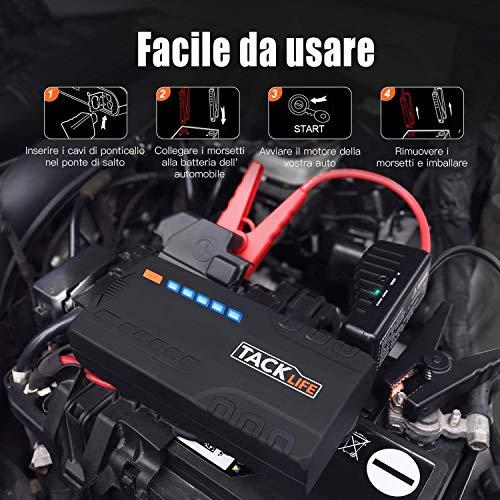 TACKLIFE T6 12V Avviatore di Emergenza - 18000mAh, 800A Avviatore Batteria Auto per Motore Benzina Fino a 7.0L e Diesel 5.5L, Porta di Ricarica Veloce