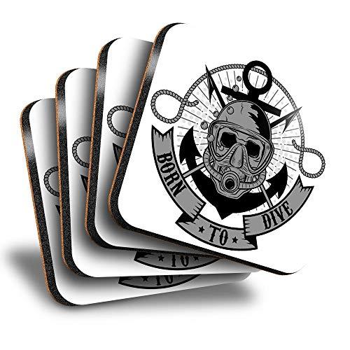 Destination Vinyl ltd Great Posavasos (juego de 4) cuadrados – BW – Born to Dive Scuba Skull Drink – Posavasos brillantes / protección de mesa para cualquier tipo de mesa #40583