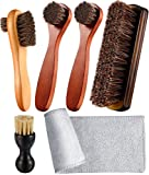 Youngjoy 6 Pieces Horsehair Shine Shoes Brush kit Polish Dauber Applicators, Brown, 10.2 x...