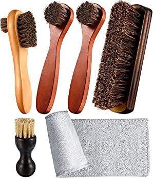 Youngjoy 6 Pieces Horsehair Shine Shoes Brush kit Polish Dauber Applicators Brown 10.2 x 8.3 x 2.2 inches