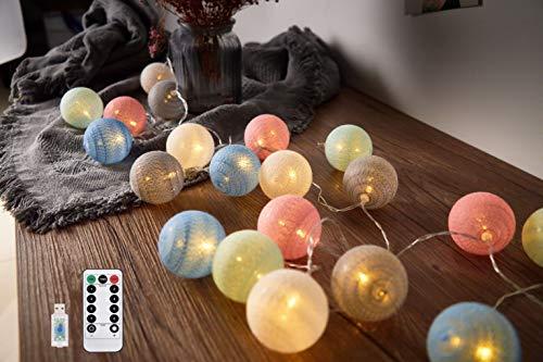 Hansiro LED-Lichterkette mit Fernbedienung und 8 Modi | 3.6 M 20er Baumwollkugeln | USB – Ladegerät Nachtlicht | für Party, Hochzeit, Weihnachten (Bunt)
