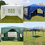 Lucn 3x3m Pavillon Festzelt Party Zelt mit 4 Seiten Wasserdichter Garten Patio Outdoor Baldachin, voll wasserdicht, pulverbeschichteten Stahlrahmen für Hochzeit Gartenparty Outdoor - Blau