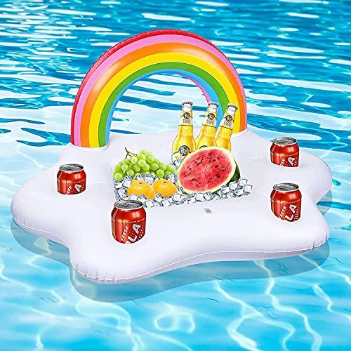 Portabibite gonfiabile, a forma di nuvola arcobaleno, 4 fori per bevande e 1 rettangolare, anello di salvataggio galleggiante, accessorio per piscina e decorazione per feste