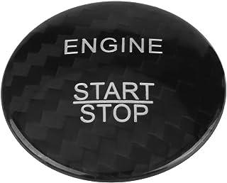 Auto Motor Start Button Cover, Keenso Carbon Motor Start Button Aufkleber Trim Innendekoration(Schwarz)