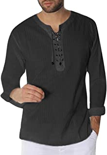 Lefthigh Fashion Mens Needle Show Autumn Long Sleeve Casual Fit Cotton Round Top Blouse