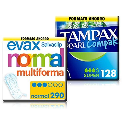 Tampax Pearl Compak Super, Tampón con aplicador, ofrece comodidad, protección y discreción, 128 unidades + EVAX Salvaslip Normal Multiforma Protegeslips Para Todo Tipo De Braguitas, 290 Unidades