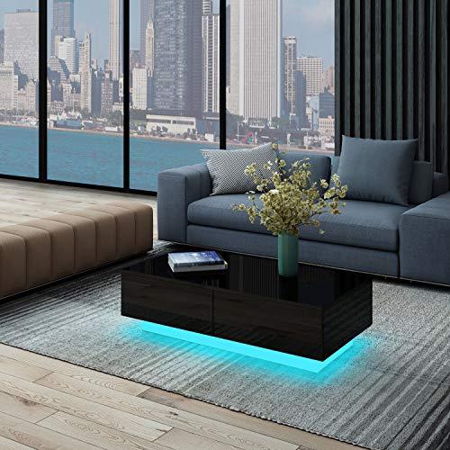 UNDRANDED Moderner Couchtisch Hochglanz mit 4 Schubladen Sofatisch Beistelltisch für Wohnzimmer 95 x 60 x 31cm (Schwarz mit LED Streifen)