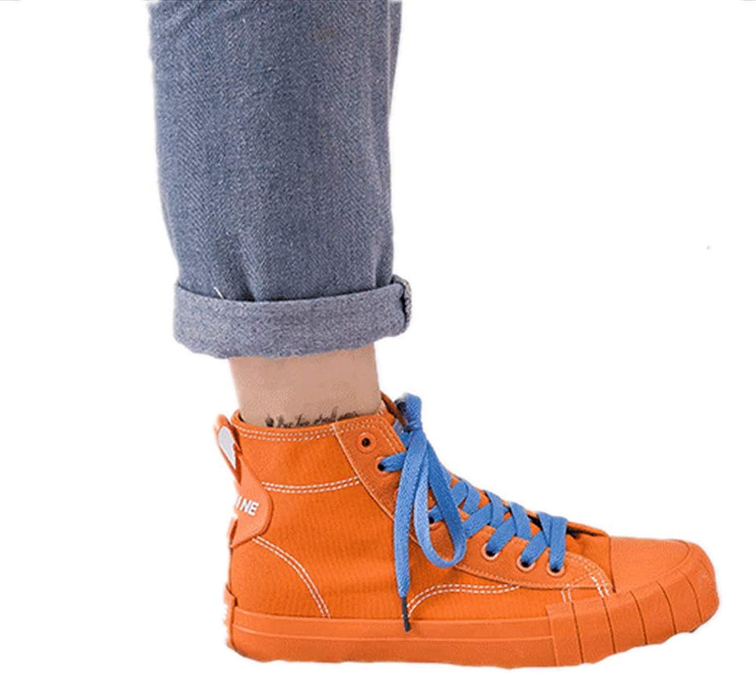 Meimeioo Adult Women's Flat High Top Lace up Casual Canvas shoes Fashion Sneakers