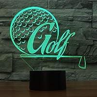 HOHHJFGG ゴルフ3DライトビジュアルLEDナイトライト、7色変更の子供用タッチUSBテーブル、ベビースリープナイトライト