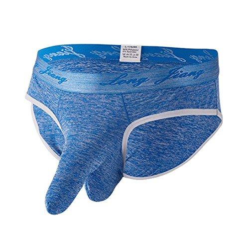 BeautyTopHerren Unterwäsche Sexy Elefant Bulge Briefs Volltonfarbe Unterhosen Shorts Men's Soft Briefs Underpants Knickers Shorts Sexy Underwear Sportunterwäsche Enge und sexy (Blau, M)