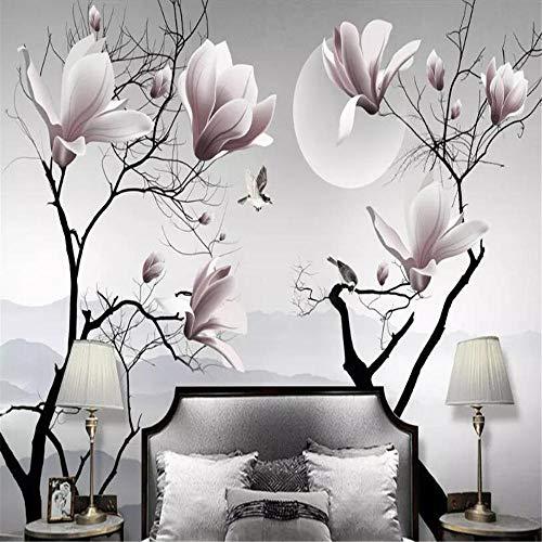 Fotobehang met magnolia motief, motief: vogel, wanddecoratie, 3D-schilderij About 430*300cm 3 stripes