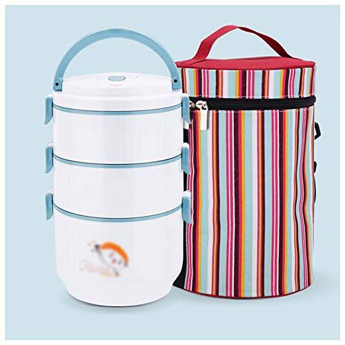 lunch box Edelstahl Isolierte Brotdose Für Männer Frauen Kinder Picknickdose Behälter Brotdose Auslaufsicher 3/4 Tier, Blau, 3-Lagig