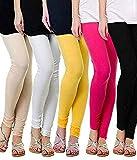 TS Women's Cotton Churidar Leggings (Multicolour, Free Size) -Combo Pack of 5