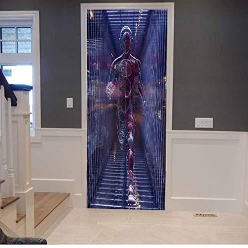 ksufnjerls Nuevo Creativo 3D Etiqueta De La Puerta Arte Mágico Supermen Impermeable Autoadhesivo Mural Wallpaper Poster DIY Puerta Decoración del Hogar Tatuajes De Pasta 77x200cm: Amazon.es: Hogar