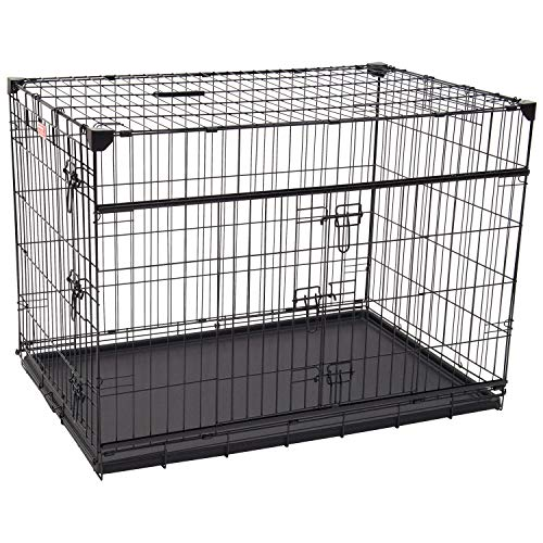 """Lucky Dog 42"""" (L) Slyder Whisper Glide Sliding Door Dog Crate   2nd Side Door Access   Patented Corner Stabilizers   Removable Tray   Rubber Feet   Carrying Handle Basic Crates"""
