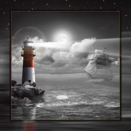 Artland Qualitätsbilder I Alu Dibond Bilder Alu Art 70 x 70 cm Landschaften Küste Digitale Kunst Schwarz Weiß C5BZ Leuchtturm und Segelschiff im Mondschein