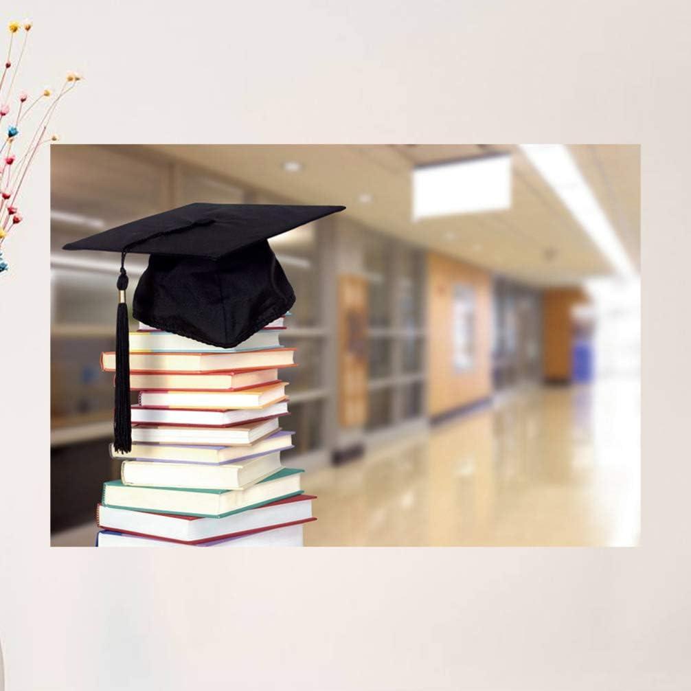 BESPORTBLE 210x150cm Senior Year Backdrop Graduation Cap Book 3D Printed Vinyl Backgrounds Cloth