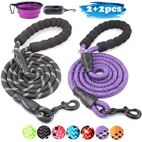 BAAPET 2 Packs 5 FT Strong Dog Leash with Comfortable Padded Handle and Highly Reflective Threads Dog Leashes for Medium and Large Dogs (Black+Purple)