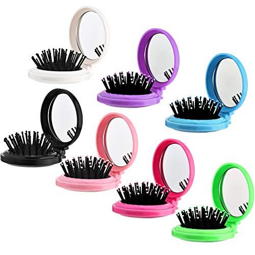 7 Stück Runde Reise Haarbürste mit Spiegel Mini Klapp Haarbürste Geschenk Haarbombe mit Schmink Spiegel für Täglichen Reise Bedarf