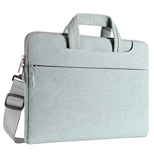 MOSISO laptoptas denim stof laptop sleeve hoes met handvat en riem 15-16 Zoll (38,1-40,6 cm) blauw, gewassen