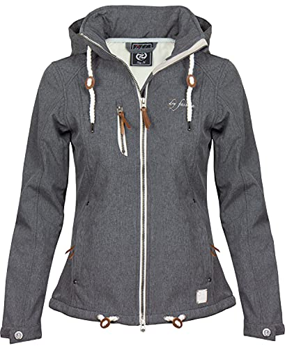 DryFashion Damen Softshell-Mantel \'Dagebüll\', Größe:40, Farbe:grau Melange