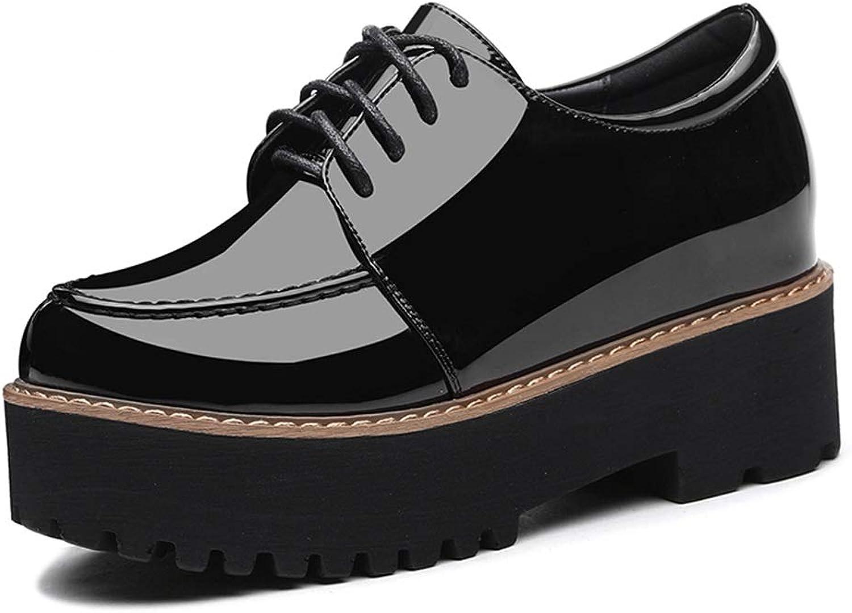 Dicke untere Plateauschuhe Plateauschuhe Chaodong Lefu Neuer Keil Mit Einzelnen Schuhen Koreanische Damenschuhe (Farbe   Schwarz, Größe   35)  großer Rabatt