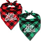 ENTHUR Dog Bandana, Christmas Pets Scarf Classic Buffalo Plaid Triangle Bibs Washable Adjustable Kerchief Set Pet Costume Accessories Decoration for Dogs Cats Pets