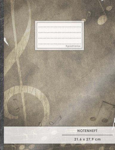 """Notenheft: DIN A4 • 48 Seiten, 24 Blatt, 12 Systeme, """"Vintage-Design"""" • Original #GoodMemos Schulheft • Mit Inhaltsverzeichnis und Seitenzahlen, Noten-Lineatur 14"""