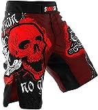 SMMASH MMA Shorts Skull Red S M L XL XXL XXXL MMA BJJ UFC Sport di Combattimento (L)