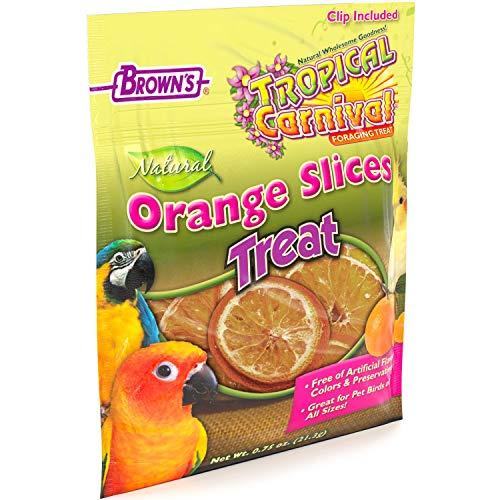 F.M. Brown's Tropical Carnival Natural Orange Slices Pet Bird Foraging Treat, 0.75-oz Bag - Sun-Ripened, USA Harvested, 100% Edible, Natural Vitamin C