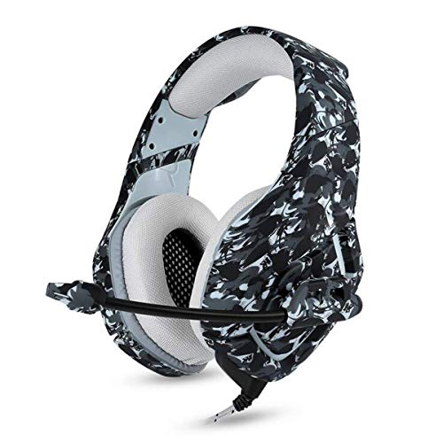 YAJIWU Headphones, PS4 Gaming Headset 3.5Mm Stereo Camouflage Gaming Headphones with Noise Canceling Mic Over Ear Volume Control for Xbox One S PC PS4 Smartphones Laptop Computer,Camouflage gray