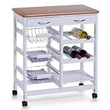 Zeller 13774 Küchenrollwagen, weiß/Bamboo-Dekor, MDF, ca. 66 x 36 x 76 cm