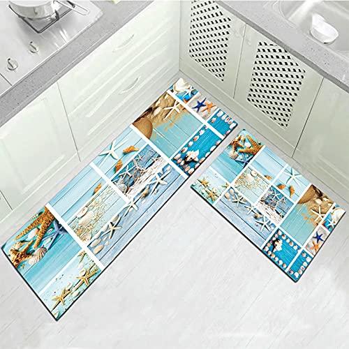 HLXX Felpudo moderno con patrón de plantas, alfombra de cocina, antideslizante, lavable, para el hogar, dormitorio, cabecera, A10, 50 x 160 cm