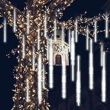 GPODER Doccia Pioggia Luci 30CM, 8 Impermeabile Spirale Tubo Luci della Pioggia di Meteore, 288 LEDs Waterfall Light per Natale/Esterno/Albero/Casa/Giardino/All Aperto Decorazione(Bianco)