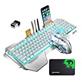 Wireless Gaming Keyboard and Mouse Rechargeable Metal Panel Mechanical Feel Ergonomic Keyboard and Mouse for Laptop PC Gamer (ice Blue Light Color)