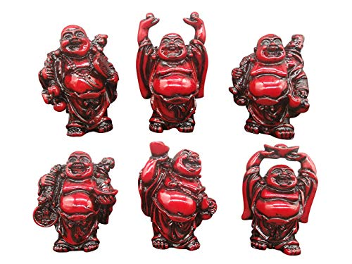Resin Laughing Buddha Figurines Red 2.7'' Good Birthday Gift Home Decoration Office Collection Set of 6