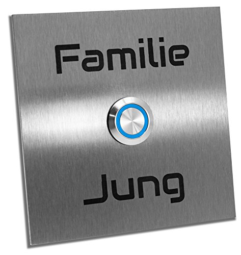 Jung-Edelstahl-Design Türklingel'Bochum' mit Gravur. Klingelplatte 10x10cm. Led Taster (blau). Klingelschild aus V2a Edelstahl.