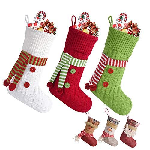 Maglieria Calza di Natale, 47 cm Calze di Natale Decorazioni, Calza Natalizia per Le Caramelle, Babbo Natale Pupazzo di Neve Renne Carattere Decorazioni Natalizie(verde)