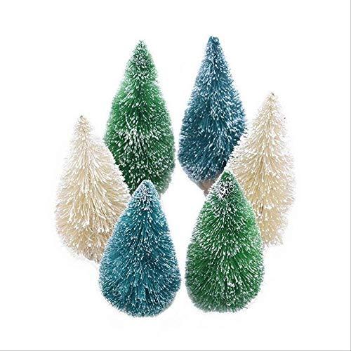 WARRT Arbol de Navidad Mini Árbol De Navidad Niños DIY Madera Miniatura Árbol De Navidad Mesa Pino Árbol Decoración B04-8.5cm-6pcs Mezcla