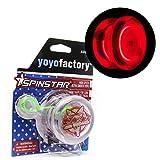 YoyoFactory SPINSTAR LED Yo-Yo - Rosso (Illuminare Yoyo, Grande per i Principianti, Corda e Istruzioni Incluse)