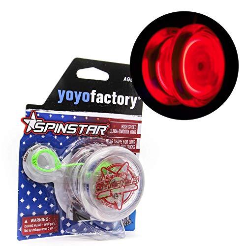 YoyoFactory SPINSTAR LED Yo-yo - ROT (Leuchtendes Yoyo, Ideal für Anfänger, Schnur und Batterien Enthalten, Moderne Leistung YoYo, Freistil Yoyoing Tricks)