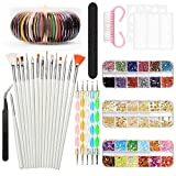 Nail Art Design Kit Set Cepillos Decoraciones Pegatinas Decoraciones con cinta Rhinestones, YZPUSI Nail Art Kit Herramientas para uñas 3D Color