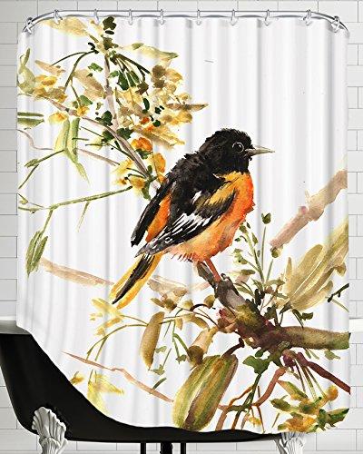 American Flat Baltimore Oriole 2' Shower Curtain by Suren Nersisyan, 71' x 74'