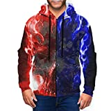 Walshen Mens All Over Fire and Ice Skull Print Zip Up Hoodie with Kangaroo Pocket