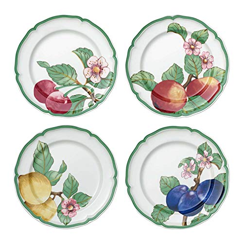 Villeroy & Boch French Garden Modern Fruits Assiette plate, Lot de 4, 26 cm, Porcelaine Premium, Blanc/Multicolore