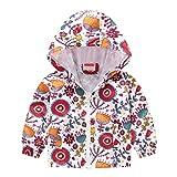 Sunnymi - Abrigo para bebé infantil y niña, 1 – 5 años, estampado otoñal, chaqueta con cremallera, capucha resistente al viento E 12-18 Meses