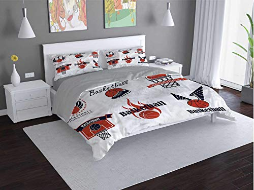 Toopeek Sports 100% Washed Microfiber Bed Set Trophy-Cup-Hoop-Shoe-Symbol Super Soft and Breathable Duvet Cover (Twin)