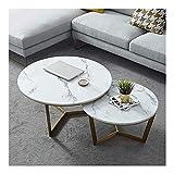 WSHFHDLC Mesa de Centro Mesa de Centro Moderna Mesa de Centro Redonda mesas Nido for el sofá de la Sala de Espera balcón Dormitorio Superficie Tablas de café pequeñas (Size : 60cm+45cm)