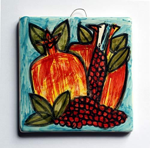 Granatapfel-Hand-dekorierte Keramikfliesen, Maße cm 10x10x1,1 cm. Fertig zum Aufhängen an der Wand. Hergestellt in Italien, Toskana, Lucca. Erstellt von Davide Pacini.