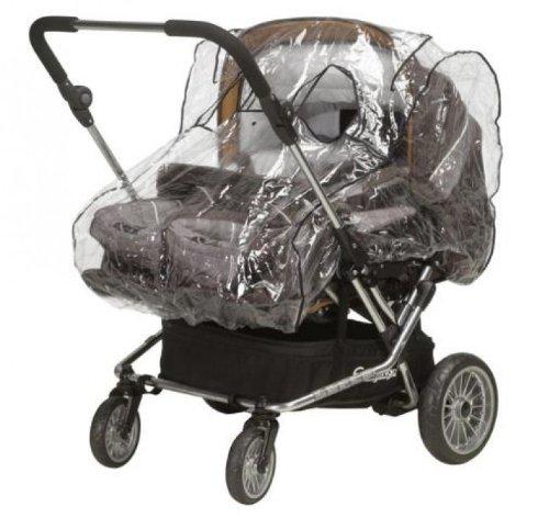Playshoes 448923 Regenverdeck, Regenschutz, Regenhaube für Zwillingswagen mit Kontaktfenster